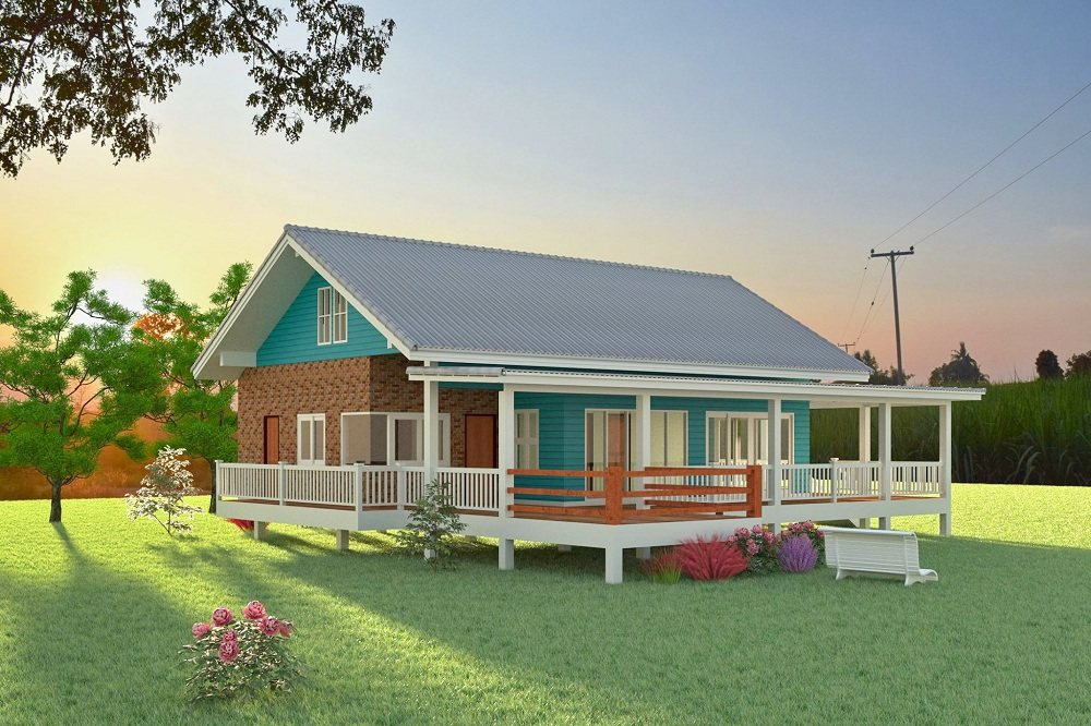 แบบบ้านชั้นเดียวยกพื้นสูง พร้อมระเบียงพักผ่อนขนาดใหญ่ อยู่สบาย น่าพักผ่อน ด้วยงบก่อสร้างประมาณ 1,500,000 บาท