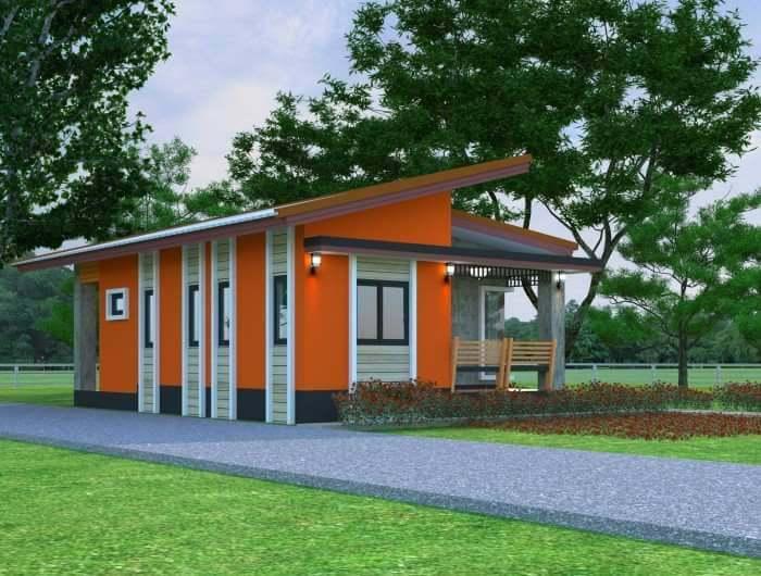 แบบบ้านชั้นเดียว หลังคาเพิงหมาแหงน 2 ห้องนอน 2 ห้องน้ำ ในงบก่อสร้างประมาณ 800,000 บาท
